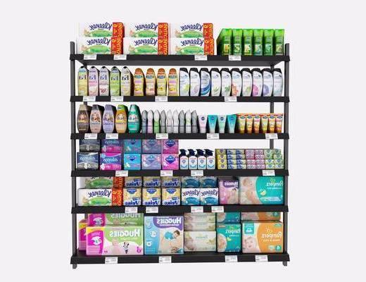 货架, 超市百货, 现代超市货架, 现代, 婴儿用品, 奶粉, 摆件, 日用品