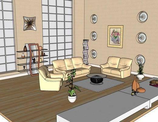 沙发组合, 单椅, 茶几, 装饰画