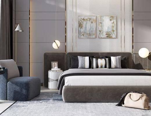 双人床, 床具组合, 装饰画, 单椅
