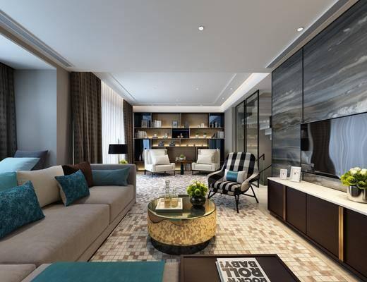 客厅, 多人沙发, 转角沙发, 茶几, 装饰柜, 边柜, 电视柜, 单人沙发, 边几, 台灯, 摆件, 装饰品, 陈设品, 现代