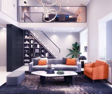 客厅, 现代客厅, loft, 沙发组合, 茶几, 植物, 盆栽, 楼梯, 书柜, 书籍, 摆件组合, 单椅, 跃层, 现代