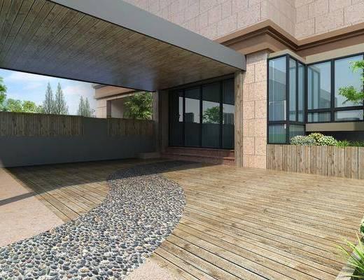 露台, 庭院, 现代庭院, 植物