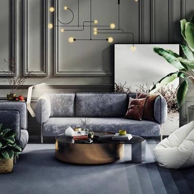 沙发组合, 吊灯, 茶几, 植物, 抱枕