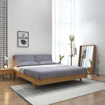 床具组合, 双人床, 床头柜, 台灯, 衣架, 装饰镜, 花瓶花卉, 装饰画, 挂画, 北欧