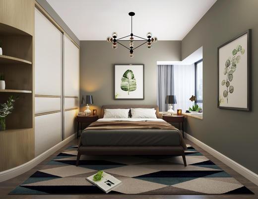 卧室, 北欧卧室, 现代卧室, 吊灯, 装饰画, 床头柜
