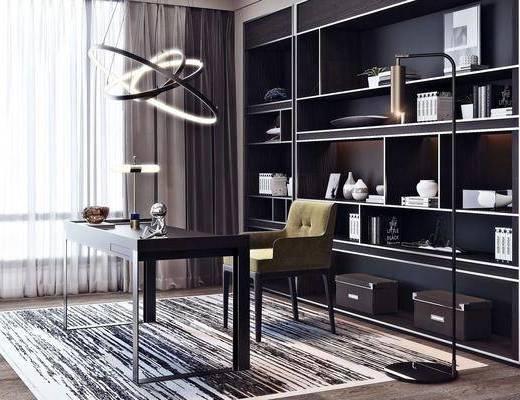 书桌, 桌椅组合, 摆件组合, 书柜, 书籍