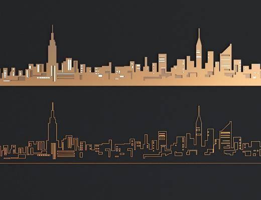 城市剪影, 墙饰, 现代, 双十一