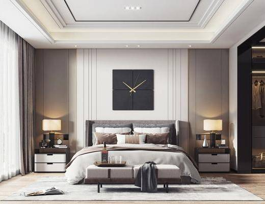 双人床, 墙饰, 床头柜, 台灯, 床尾踏, 衣柜