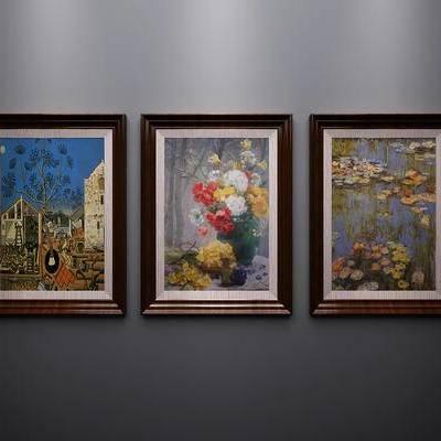 美式, 挂画, 装饰画, 相框, 植物画