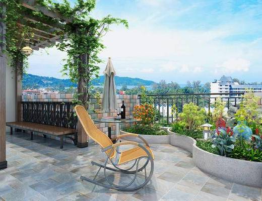 露天阳台, 现代花园, 躺椅, 圆几, 长椅, 花架, 植物, 洗衣台, 藤椅, 现代