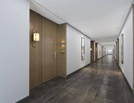 走廊过道, 壁灯, 装饰画, 挂画, 现代