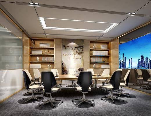会议室, 会议桌, 单人椅, 轮滑椅, 办公椅, 办公桌, 摆件, 装饰品, 陈设品, 现代