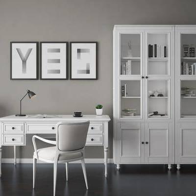 书桌椅, 椅子, 书桌, 书柜, 储物柜, 文件柜, 装饰画, 简欧