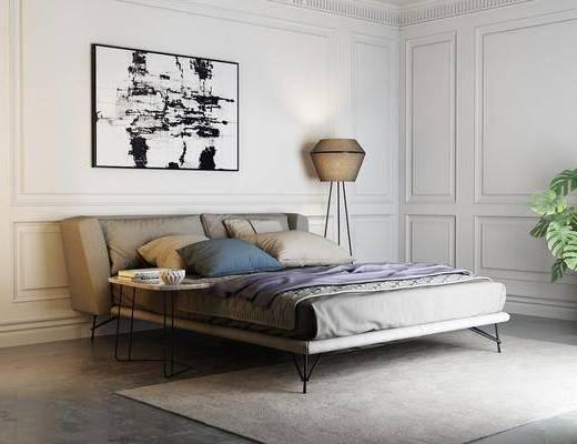 卧室, 床, 灯具, 挂画