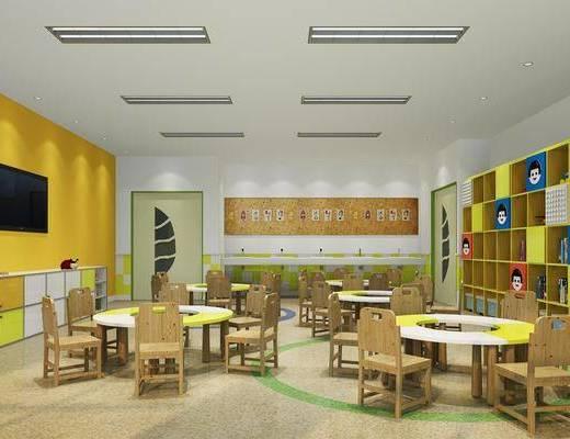 幼儿园教室, 桌子, 单人椅, 装饰柜, 书柜, 书籍, 摆件, 装饰品, 陈设品, 现代