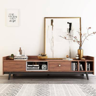 现代电视柜画地毯书籍饰品模型, 电视柜, 装饰画, 书本, 花瓶, 摆件