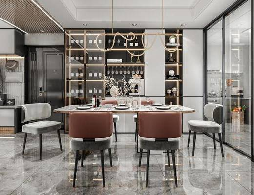 现代, 轻奢, 客厅, 厨房