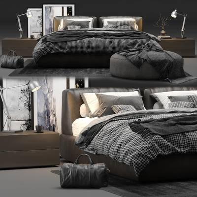 雙人床, 床頭柜, 臺燈, 地毯, 腳踏, 圓沙發椅, 裝飾畫, 旅行包, 現代, 床