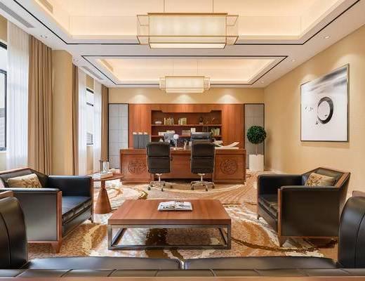 办公室, 办公桌, 吊灯, 茶几, 单椅, 装饰画