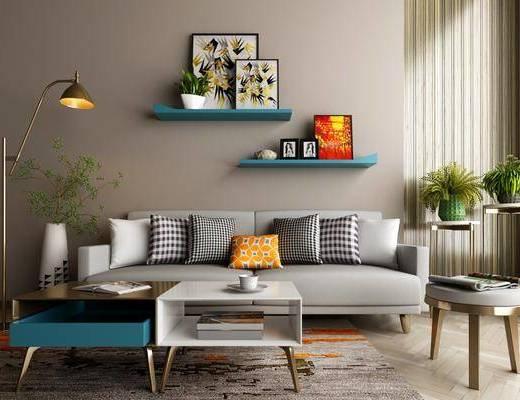 沙发组合, 多人沙发, 茶几, 凳子, 装饰架, 盆栽, 落地灯, 置物架, 装饰画, 挂画, 北欧