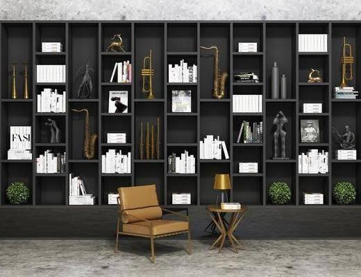 博古架, 书柜, 装饰柜, 单人椅, 边几, 台灯, 装饰品, 陈设品, 现代