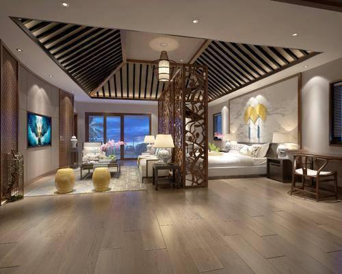 酒店客房, 新中式酒店客房, 床具组合, 隔断, 凳子, 沙发组合, 茶几, 桌椅组合, 新中式