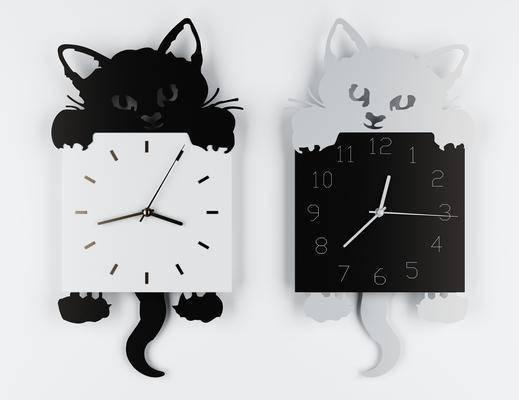 挂件, 时钟, 北欧小猫挂饰钟表3d模型