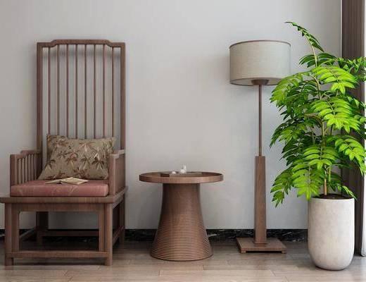 落地灯, 盆栽, 单椅, 边几