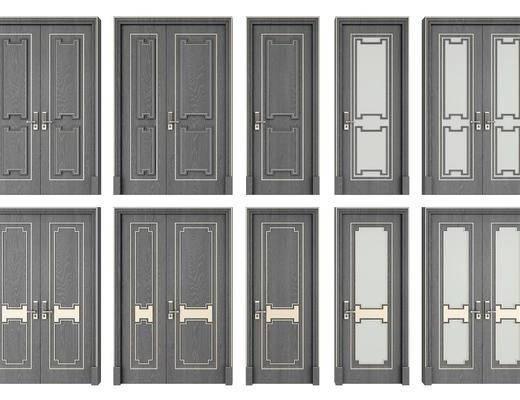 双开门, 子母门, 单开门, 门组合, 新中式
