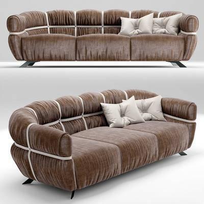 多人沙发, 绒布沙发, 现代