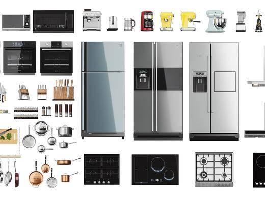 冰箱, 电磁炉, 油烟机, 烤箱, 微波炉组合
