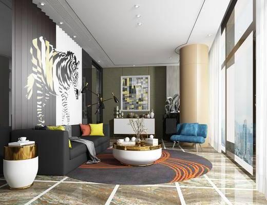 现代, 洽谈区, 茶几, 摆件, 休闲椅