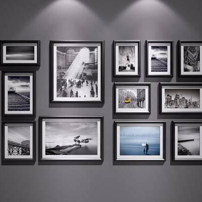 现代装饰挂画, 现代, 装饰画, 挂画, 照片墙