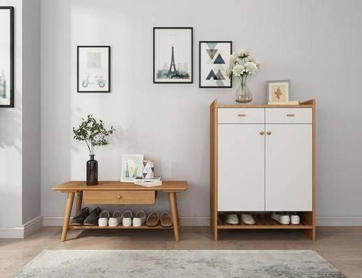 ?#30340;?#38795;柜, 换鞋凳, 花瓶花卉, 装饰画, 挂画, 北欧