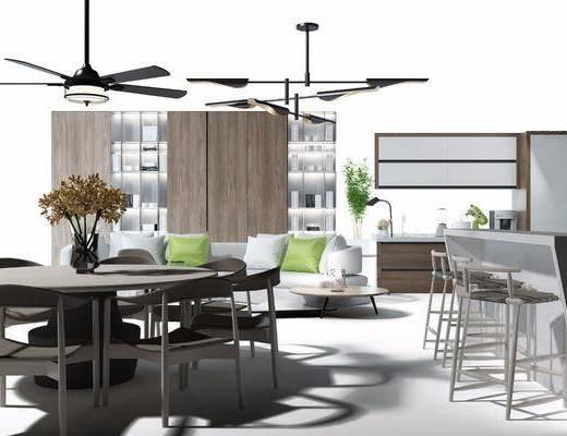 沙发茶几, 餐桌椅, 吧台吧椅, 装饰柜, 风扇吊灯, 现代