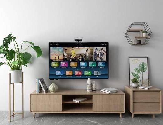 盆栽, 电视柜, 摆件组合, 墙饰