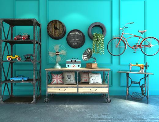 工业风, 陈设品组合, 单车, 缝纫机, 装饰柜