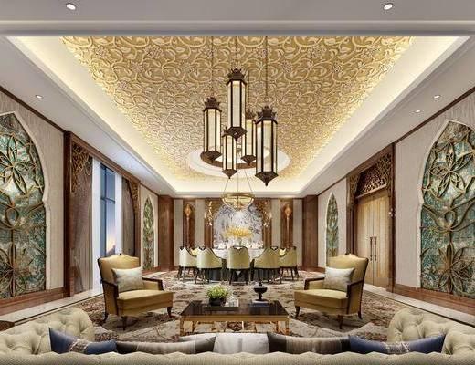 餐厅, 餐桌, 餐椅, 吊灯, 单人沙发, 多人沙发, 茶几, 摆件, 装饰品, 陈设品, 现代