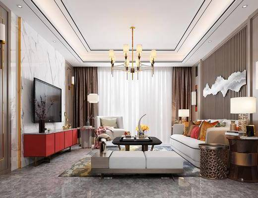 客厅, 多人沙发, 茶几, 躺椅, 边几, 台灯, 壁灯, 墙饰, 单人沙发, 落地灯, 吊灯, 电视柜, 边柜, 摆件, 装饰品, 陈设品, 新中式