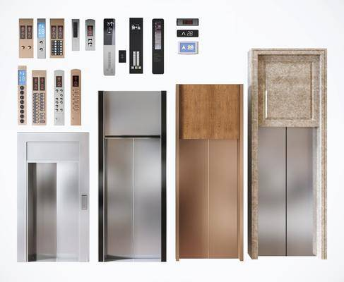 电梯门, 平开门, 电梯按键, 按钮, 楼层显示器, 现代