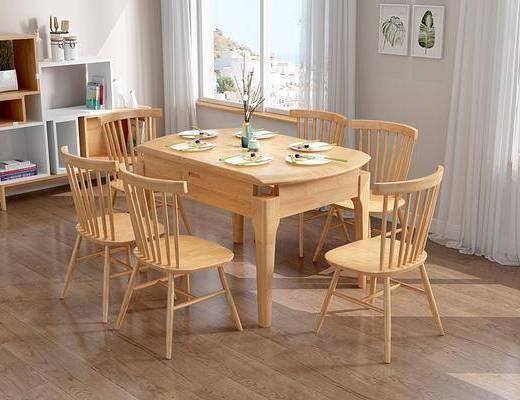 餐桌椅组合, 餐具组合, 置物架, 摆件组合, 北欧