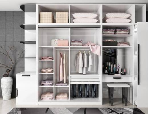 衣柜, 服饰, 花瓶, 干树枝, 凳子, 现代简约