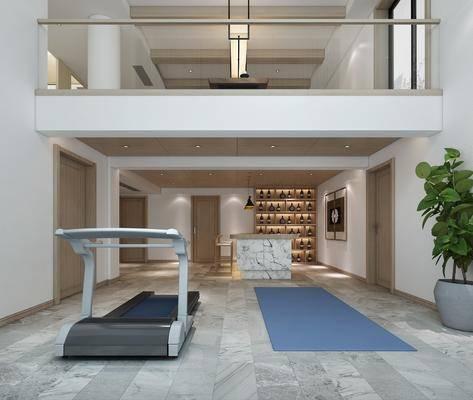 新中式书房, 书房, 茶室, 桌椅组合