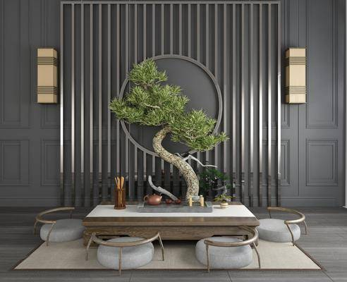 桌椅组合, 盆栽, 新中式桌椅组合, 茶具