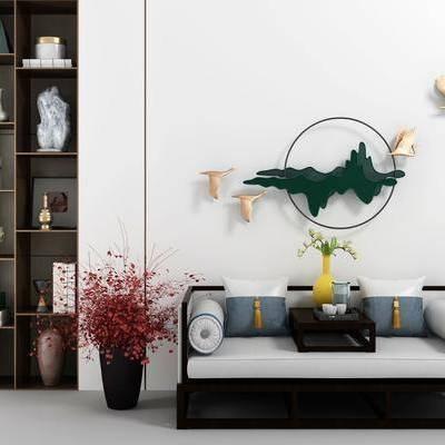 沙发组合, 新中式沙发组合, 背景墙, 书架, 置物架, 摆件, 装饰品, 墙饰, 花瓶, 花卉, 新中式