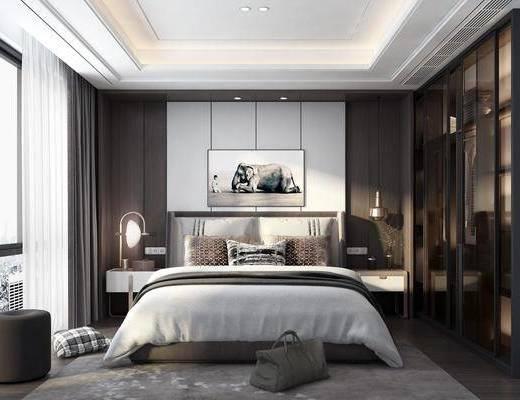 臥室, 床具組合, 衣柜服飾, 臺燈, 擺件組合, 現代