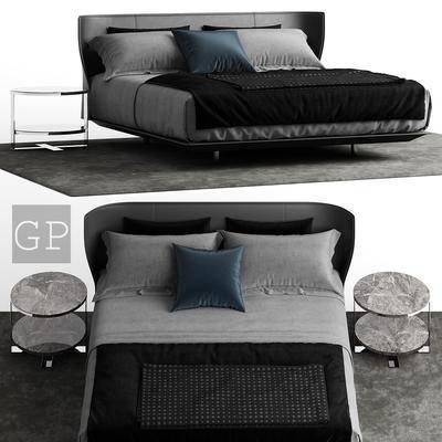 双人床, 床具组合, 床, 床头柜, 现代, 后现代