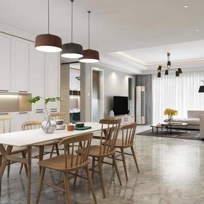 北欧客厅餐厅, 北欧客厅, 北欧餐厅, 北欧, 餐桌椅, 北欧吊灯, 沙发组合