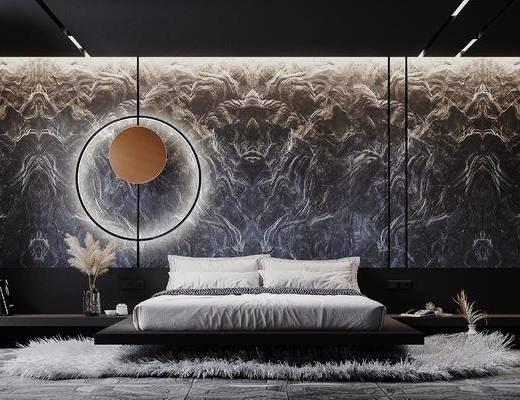 双人床, 墙饰, 床具组合, 地毯