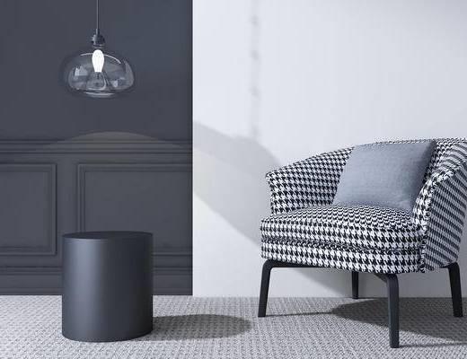 现代, 单椅, 椅子, 吊灯, 圆几
